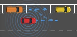 Autonomous car parking top view. Self driving vehicle with radar sensing system. Driverless automobile parking. Vector illustration Royalty Free Stock Photos