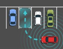 Autonomous car parking top view. Self driving vehicle with radar sensing system. Driverless automobile parking. Vector illustration Royalty Free Stock Images