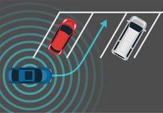 Autonomous car parking top view. Self driving vehicle with radar sensing system. Driverless automobile parking. Vector illustration stock illustration