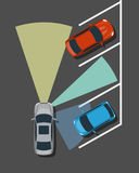 Autonomous car parking top view. Self driving vehicle with radar sensing system. Driverless automobile parking. Vector illustration royalty free illustration