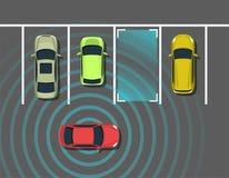 Autonomous car parking top view. Self driving vehicle with radar sensing system. Driverless automobile parking. Vector illustration Stock Photography