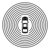 Autonomous car top view. Self driving vehicle. Autonomous car top view. Self driving vehicle with radar sensing system. Driverless automobile on road. Vector vector illustration