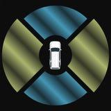 Autonomous car top view. Self driving vehicle. Royalty Free Stock Photo