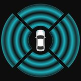 Autonomous car top view. Self driving vehicle. Royalty Free Stock Images
