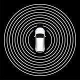 Autonomous car top view. Self driving vehicle. Royalty Free Stock Image