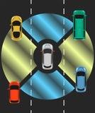 Autonomous car top view. Self driving vehicle. Stock Images