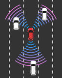 Autonomous car top view. Self driving vehicle. Autonomous car top view. Self driving vehicle with radar sensing system. Driverless automobile on road. Vector vector illustration