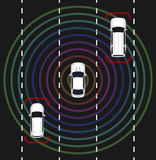 Autonomous car top view. Self driving vehicle. Autonomous car top view. Self driving vehicle with radar sensing system. Driverless automobile on road. Vector Stock Photography