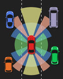 Autonomous car top view. Self driving vehicle. Autonomous car top view. Self driving vehicle with radar sensing system. Driverless automobile on road. Vector royalty free illustration