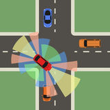 Autonomous car top view. Self driving vehicle. Autonomous car top view. Self driving vehicle with radar sensing system. Driverless automobile on road. Vector stock illustration