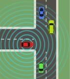 Autonomous car top view. Self driving vehicle. Autonomous car top view. Self driving vehicle with radar sensing system. Driverless automobile on road. Vector Stock Photos