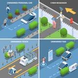Autonomous Cars Design Concept. Autonomous car driverless vehicle robotic transport isometric 2x2 design concept with futuristic cars drones and people vector royalty free illustration