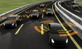 Autonomous cars on a road, 3d rendering stock illustration