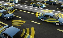 Autonomous cars on a road with visible connection vector illustration