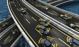 Autonomous cars on a road with visible connection. 3d Rendering stock illustration