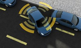 Autonomous cars on a road with visible connection stock illustration