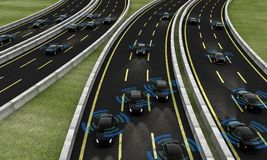 Autonomous cars on a road, 3d rendering royalty free illustration