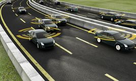 Autonomous cars on a road with visible connection. 3d Rendering royalty free illustration