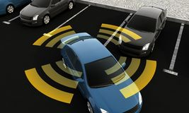 Autonomous cars on a road with visible connection royalty free illustration