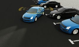 Autonomous cars on a road with visible connection. 3d rendering vector illustration
