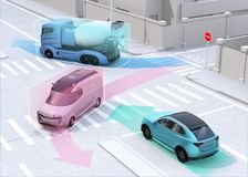 Autonomous cars sharing car`s driving information on the road. Concept for connected car. 3D rendering image vector illustration