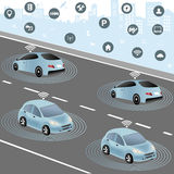 Autonomous cars and Wireless network of vehicle Royalty Free Stock Image