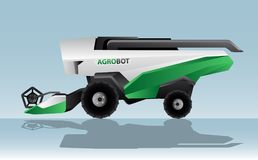 Autonomous combine harvester. Agrobot. Vector illustration Stock Photo