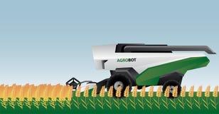 Autonomous combine harvester on a field. Vector illustration Stock Image