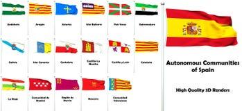 Autonomous Communities of Spain. High quality 3D rendered flags of the autonomous communities of Spain with names stock illustration