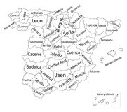 Autonomous communities of Spain. Administrative divisions of Spain, separated provinces. Editable blank  map of  Spain. Vector map of Spain isolated on Royalty Free Stock Photo