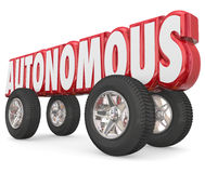 Autonomous 3d Red Word Car Wheels Tires Self Driving Vehicle Stock Photos