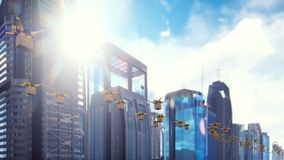 Autonomous delivery of parcels by a fleet of unmanned drones flying in a modern metropolis on a Sunny day.