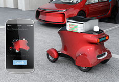 Autonomous delivery robot in front of the garage waiting for picking pizza Stock Photography