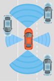 Autonomous Driverless Car. Automobile sensors use in self-driving cars:camera data with pictures Radar and LIDAR Autonomous Driverless Car vector illustration