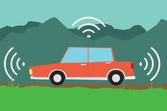 Autonomous driverless car. Driverless autonomous electric red car vector flat design Stock Photography