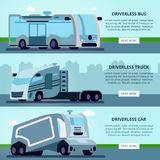 Autonomous Driverless Vehicles Banners. Autonomous driverless vehicles navigation systems 3 flat horizontal website banners with bus truck and car vector vector illustration