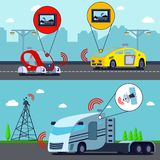 Autonomous Driverless Vehicles Banners stock illustration