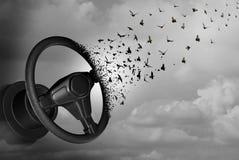 Autonomous Driving Autopilot. Autonomous driving and autopilot self driver concept as an auto steering wheel transforming to birds as a surreal automobile idea stock illustration
