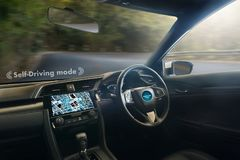 autonomous driving car and digital speedometer technology image Stock Photo