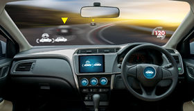 Autonomous driving car and digital speedometer technology image. Visual Royalty Free Stock Photos