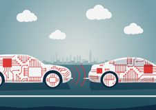 Autonomous driving concept as example for digitalisation of automotive industry. Vector illustration of connected cars communicati
