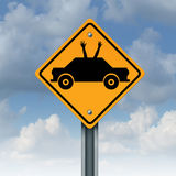 Autonomous Driving. Concept and driverless car safety system symbol as a road traffic sign as an automobile icon with human hands and arms waving up to the sky stock illustration