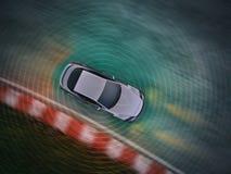 Autonomous driving concept. Illustration - 3d rendering showing a top down view of lidar sensor use vector illustration