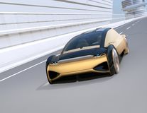 Autonomous electric car moving fast on the highway. 3D rendering image stock illustration