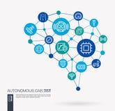 Autonomous electric car, self-driving, autopilot integrated business vector icons. Digital mesh smart brain idea. AI creative think system concept. Digital mesh royalty free illustration