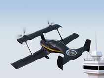 Autonomous flying drone taxi in airport Royalty Free Stock Photo