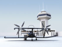 Autonomous flying drone taxi in airport Royalty Free Stock Photos