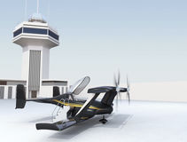 Autonomous flying drone taxi in airport Stock Photo