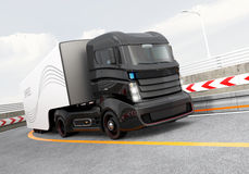 Autonomous hybrid truck driving on highway. Original design stock illustration