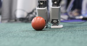 Autonomous mobile Robots playing soccer. Modern Robotic Technologies. Close up stock footage